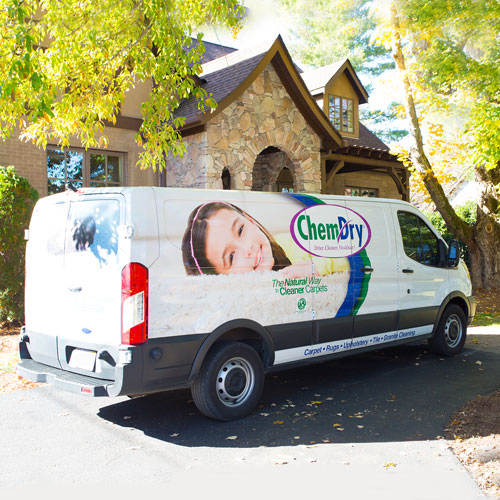 Chem-Dry professional cleaning technician's truck outside of home